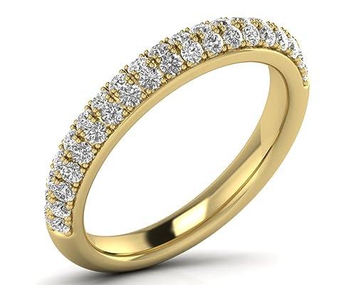 Juego de anillos de boda de 0,70 quilates con diamante de corte brillante redondo y media eternidad disponible en oro y platino: Amazon.es: Joyería