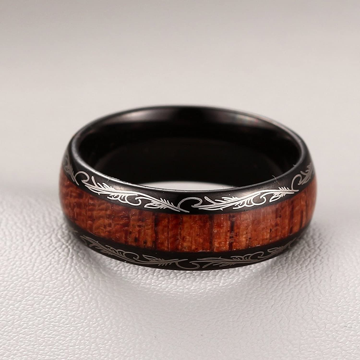 caperci mens 8mm vintage dome wood inlay tungsten carbide ring wedding band size 75 amazoncom - Mens Wooden Wedding Rings