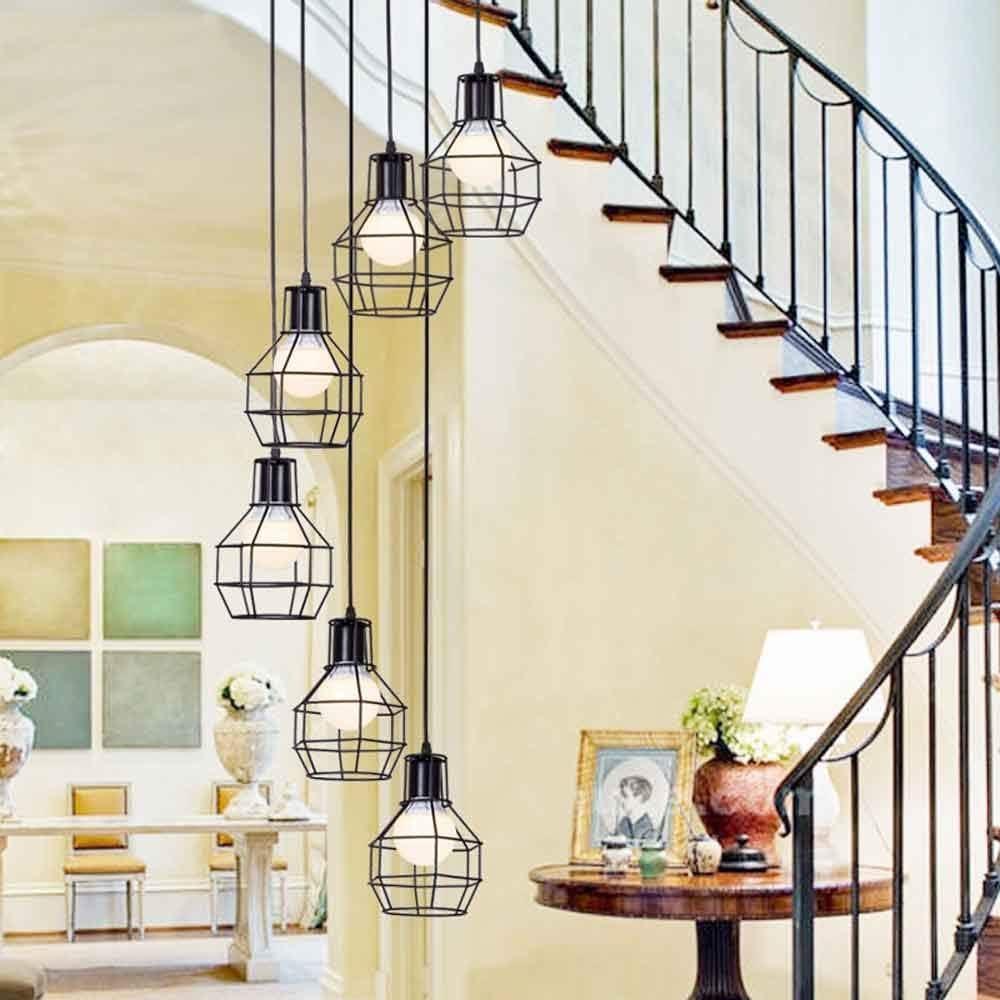 Luces múltiples Escalera larga Araña Luces colgantes grandes Luz de techo minimalista moderna para la sala de estar Casa duplex Araña giratoria Color negro E27 (Color : B , Size :