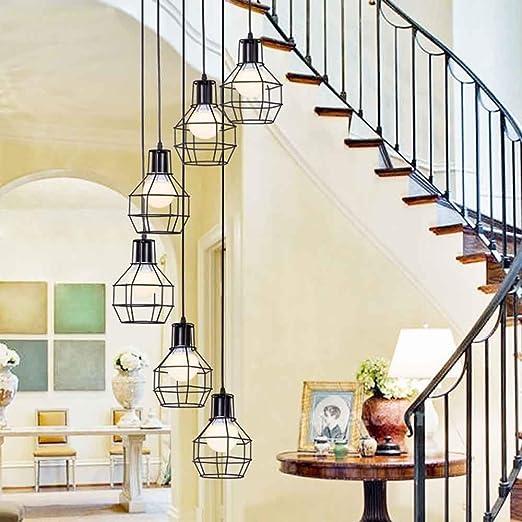 Luces múltiples Escalera larga Araña Luces colgantes grandes Luz de techo minimalista moderna para la sala