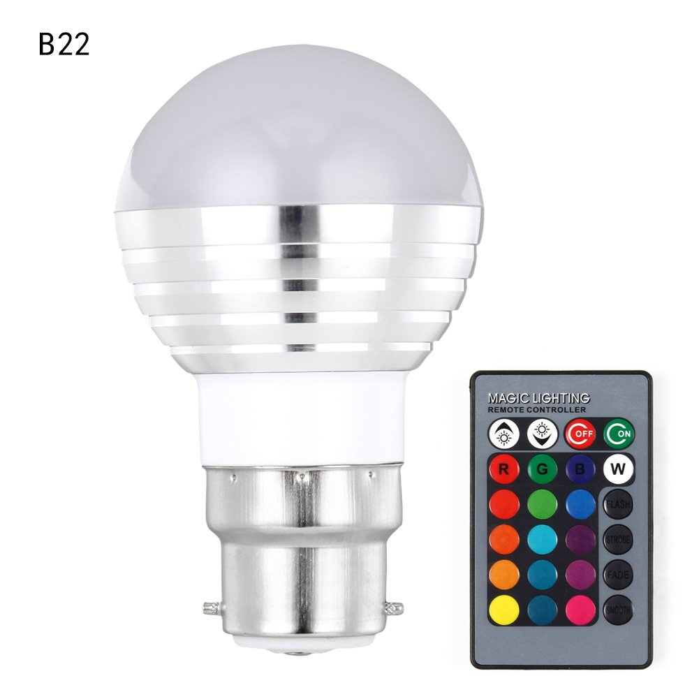 Alftek Birnen-Licht E27/B22/E14/GU10 LED mit IR-Fernbedienung 16 Beleuchtet Beleuchtung-Lampe der Farben-3W RGB fü r Hauptpartei-Dekoration