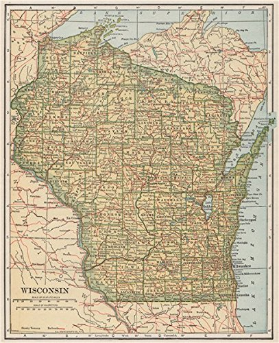 Amazon.com: Wisconsin state map showing railroads. POATES   1925