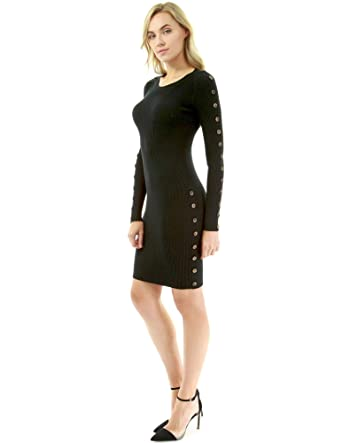 18607fdeb9 PattyBoutik Women Button Embellished Ribbed Sweater Dress (Black X-Small)