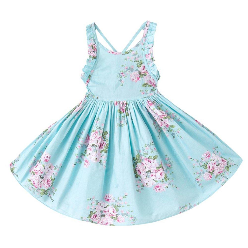AOVCLKID Girls Vintage Floral Dress Summer Kid's Straps Beach Dress (Blue,3T)