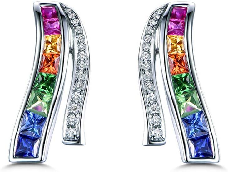 Gems.RDX 18K Oro Blanco Diamante Colorear Rubí Zafiro Aretes para Mujeres Diseño del Arco Iris Pendientes Joyería Regalo de Bodas