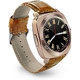 STK スマートウォッチ 超薄型フルタッチ ウォッチ 多機能 時計 カメラ搭載ブルートゥース腕時計 通話 着信通知 SIM/TF対応 ボイスレコーダー 着信通知 (ゴールド)