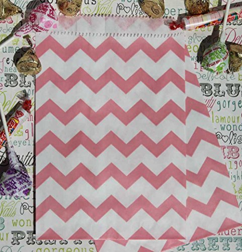 Blush Pink Chevron Stripe Party Favor Bags with Stickers, 5.5