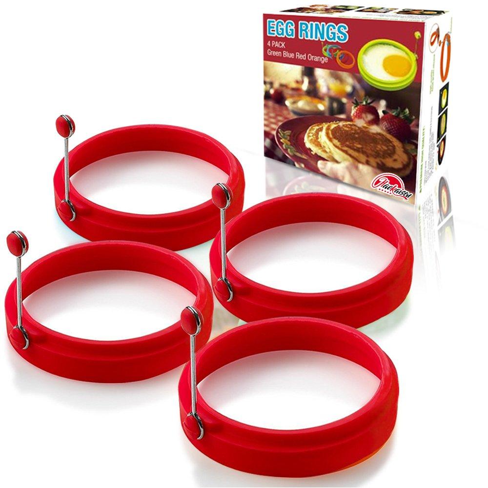 Portauovo, stampo per pancake antiaderente rotondo in silicone (4 pezzi di rosso) Hao Kaisen