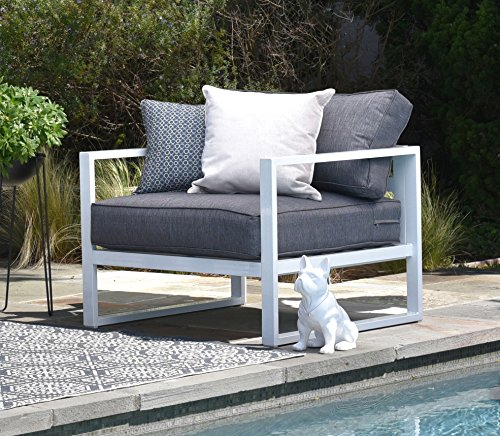 Elle Decor Paloma Outdoor Arm Chair, (Metal Modern Lounge Chairs)