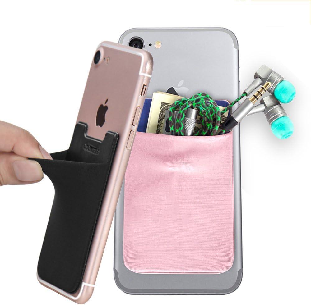 Cocases 2 Stück Smartphone Kartenhülle Klebende Handy Kartenhalterung Kartenhalter Kartenetui Kartenfach Smart Wallet Schwarz Pink Elektronik