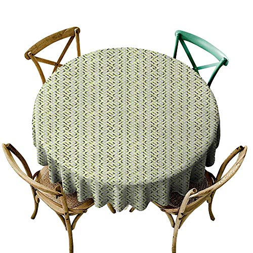 Wendell Joshua Premium Round Tablecloth 54 inch Abstract,Overlapping Circles in Green and Grey Shades Abstract Symmetric Tile,Green Pale Grey White Suitable for Indoor Outdoor Round Tables -