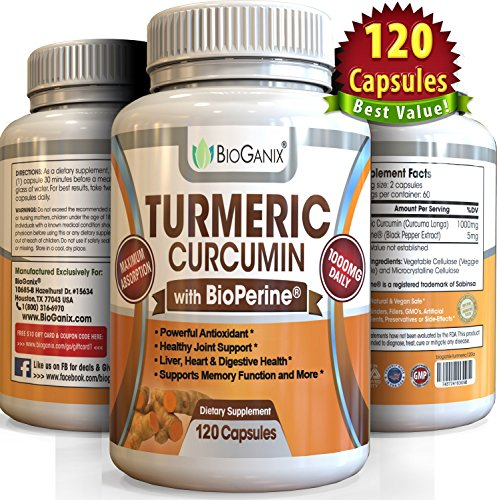 Best Turmeric Curcumin Extract Supplement with BioPerine 1000mg serving (120 Capsules) Anti-Inflammatory Pills to Relieve Pain (Supreme Ground Root Powder Has Super Health Benefits & No Side Effects)