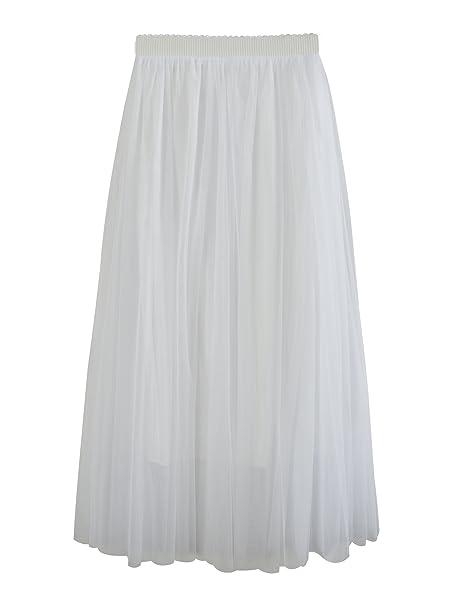 ad23dc779e SYEEGCS Falda Larga de Tul de Alta Cintura elástica de Las Mujeres Elegante  3 Capas de Tul  Amazon.es  Ropa y accesorios