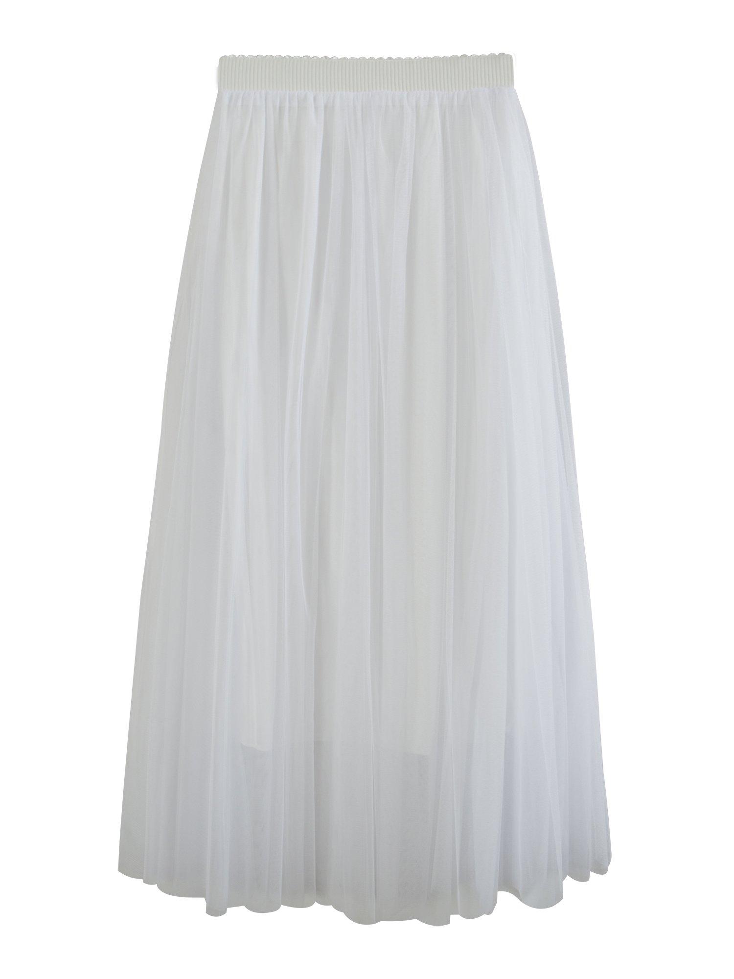 Women's Maxi Skirt Elastic High Waist Net Yarn Full Ankle A Line Tulle Tutu Skirt - White 100cm