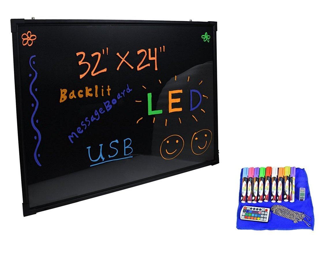 TMS 32''x24'' Flashing Illuminated Erasable Neon LED Message Menu Sign Writing Board