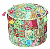 Navya Creations Indian Embroidered Patchwork Ottoman Cover Vintage Pouf Floor Bohemian 22 x 14 inch