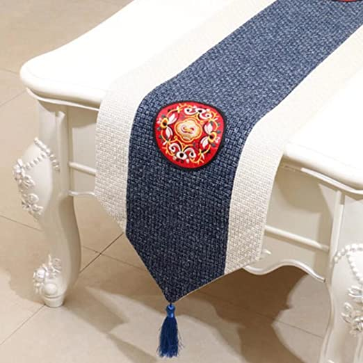 KKY-Enter Table Runner Mantel Pastoral Azul Mesa De Café Mantel De ...