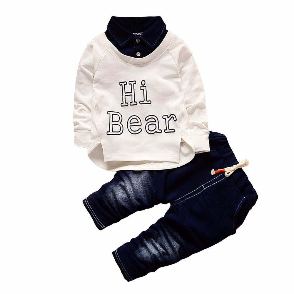 YanHoo Conjunto de Ropa para niños Conjunto Casual de Dos Piezas de algodón Denim para niños de Childrens Boys Camisa Larga Tops + Pantalones Vaqueros ...