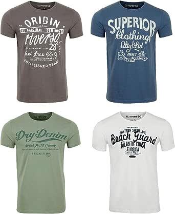 riverso RIVLeon - Pack de 4 Camisetas con Mangas Corta, Cuello Redondo, para Hombre, 100% algodón, Verde, Azul, Blanco, Gris, Rojo, Naranja, S, M, L, XL, 2XL, 3XL, 4XL, 5XL - Multicolor