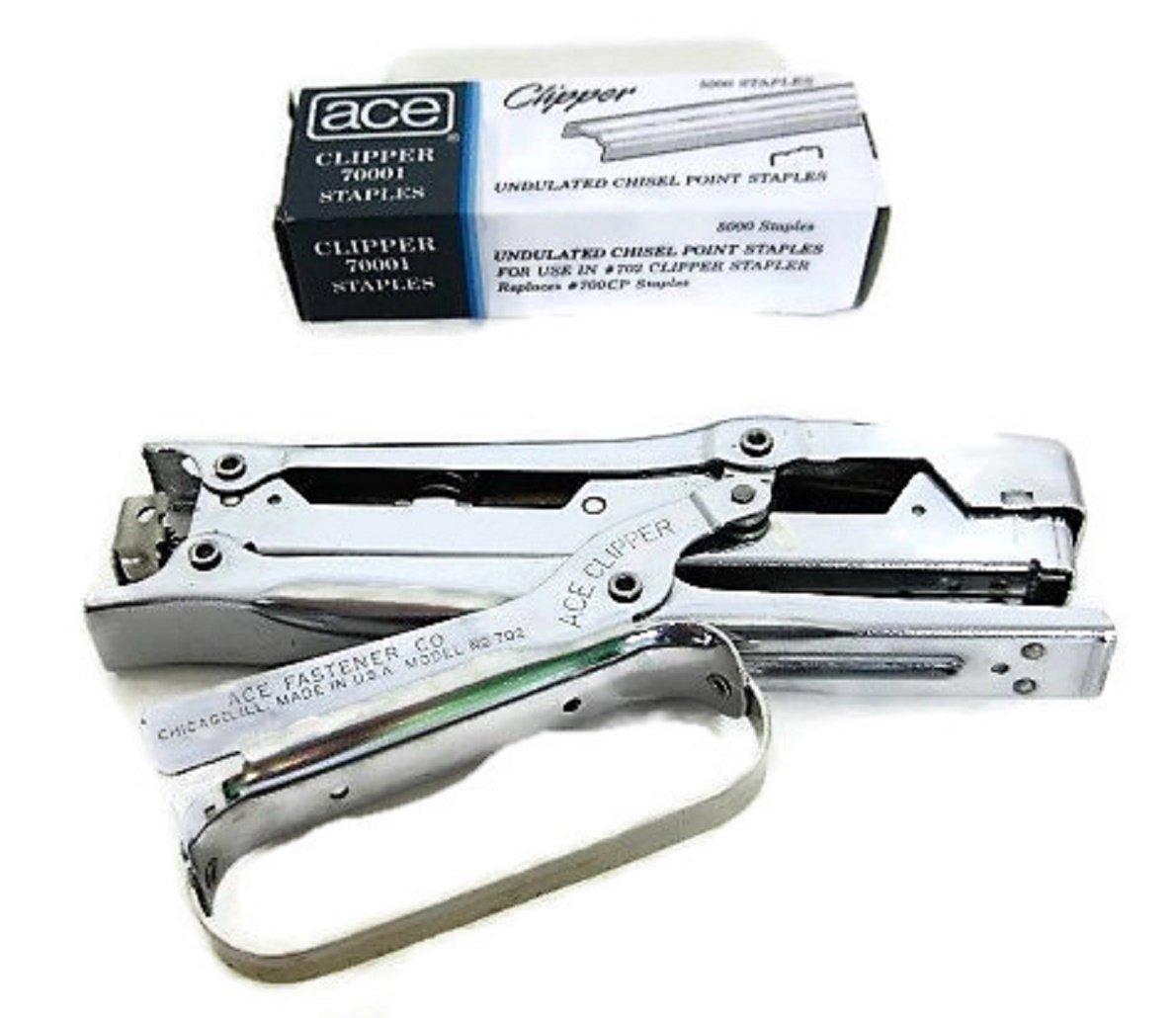 Ace 07020 Clipper Stapler Lightweight 210 Staple Capacity Chrome