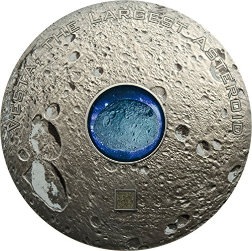 (2018 CK Meteorites PowerCoin VESTA THE LARGEST ASTEROID Hed 3 Oz Silver Coin 20$ Cook Islands 2018 Antique Finish)