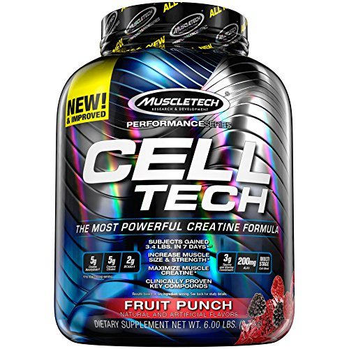MuscleTech CellTech Creatine Powder, Micronized Creatine, Creatine HCl, Fruit Punch, 6 Pounds