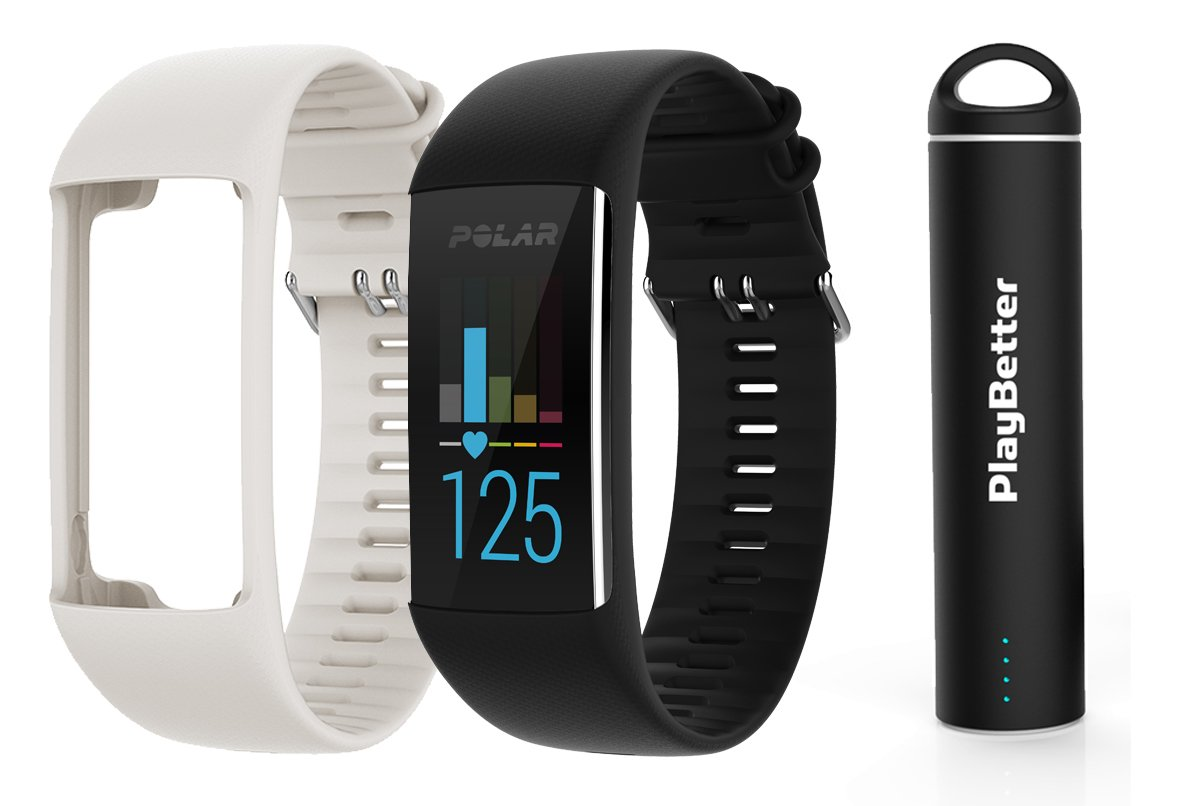 Polar A370 (Black, Medium/Large) GPS Fitness Band BUNDLE with Extra Silicone Band (White) & PlayBetter Portable Power Bank (2200mAh) | On-Wrist Heart Rate, 24/7 Activity Tracker