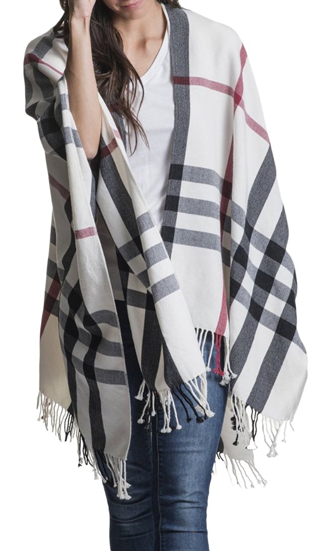 Travel Wrap (Plaid Pearl with Pockets) by Mersea