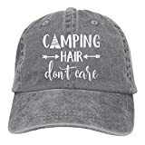 #2: HHNLB Unisex Camping Hair Don't Care-1 Vintage Jeans Baseball Cap Classic Cotton Dad Hat Adjustable Plain Cap