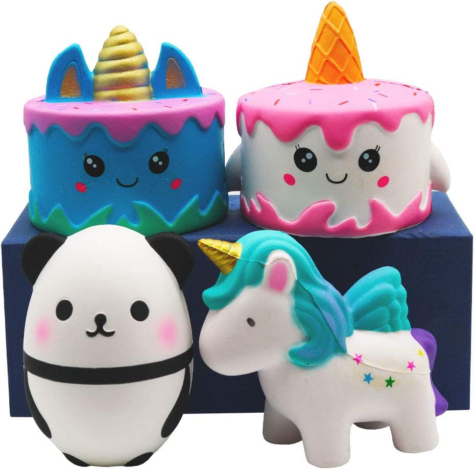 YOAUSHY Squishies Slow Rising Toy Set Jumbo Unicorn Cake Horse Panda Egg Soft Cute Hop Props Stress Relieve Sensory Toy for Boys and Girls(4 Packs)