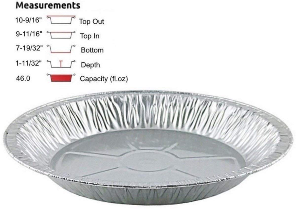 Pactogo 11'' Aluminum Foil Pie Pan Extra-Deep Disposable Tin Plates (Pack of 100)