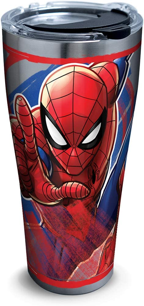 Tervis Marvel - Spider-Man Iconic Insulated Travel Tumbler with Lid, 30oz - Stainless Steel, Silver