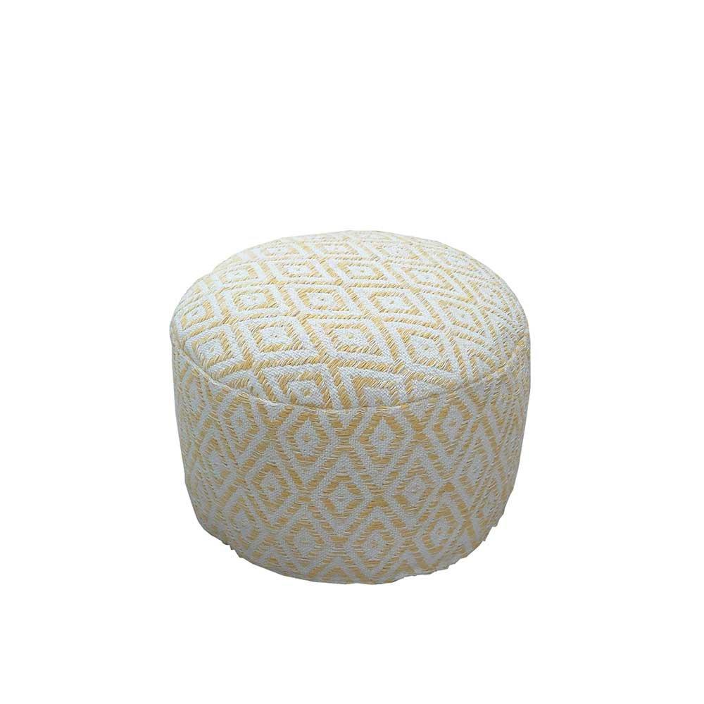 Pharao24 Sitzhocker Pouf in Gelb Weiß Gemustert Stoff
