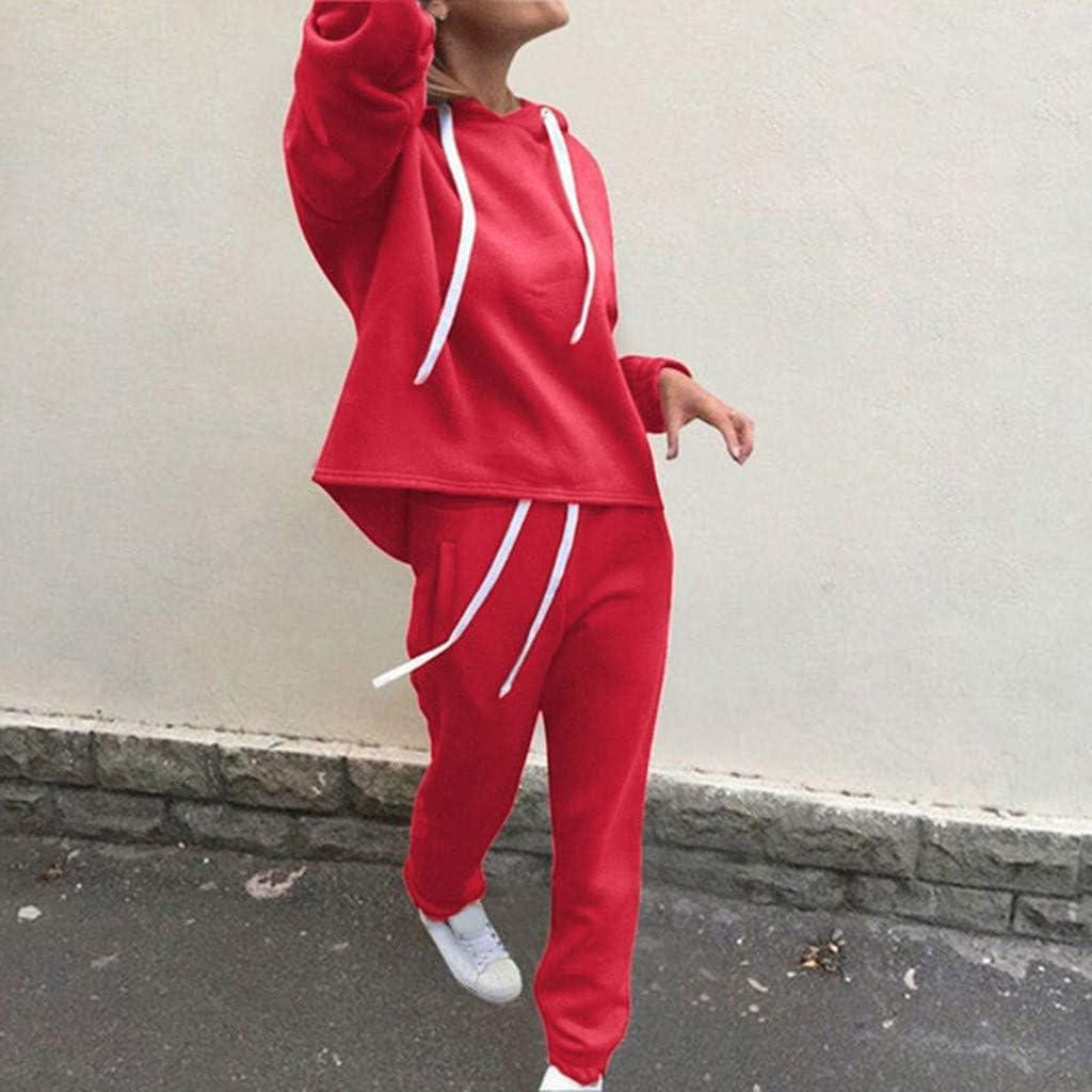 Lang Hose Sportanzug Damen Jogginganzug Einfarbige Trainingsanzug Casual Hausanzug Sportswear Zweiteiler Set Loose Freizeitanzug Lange /Ärmel Kapuzenpullover