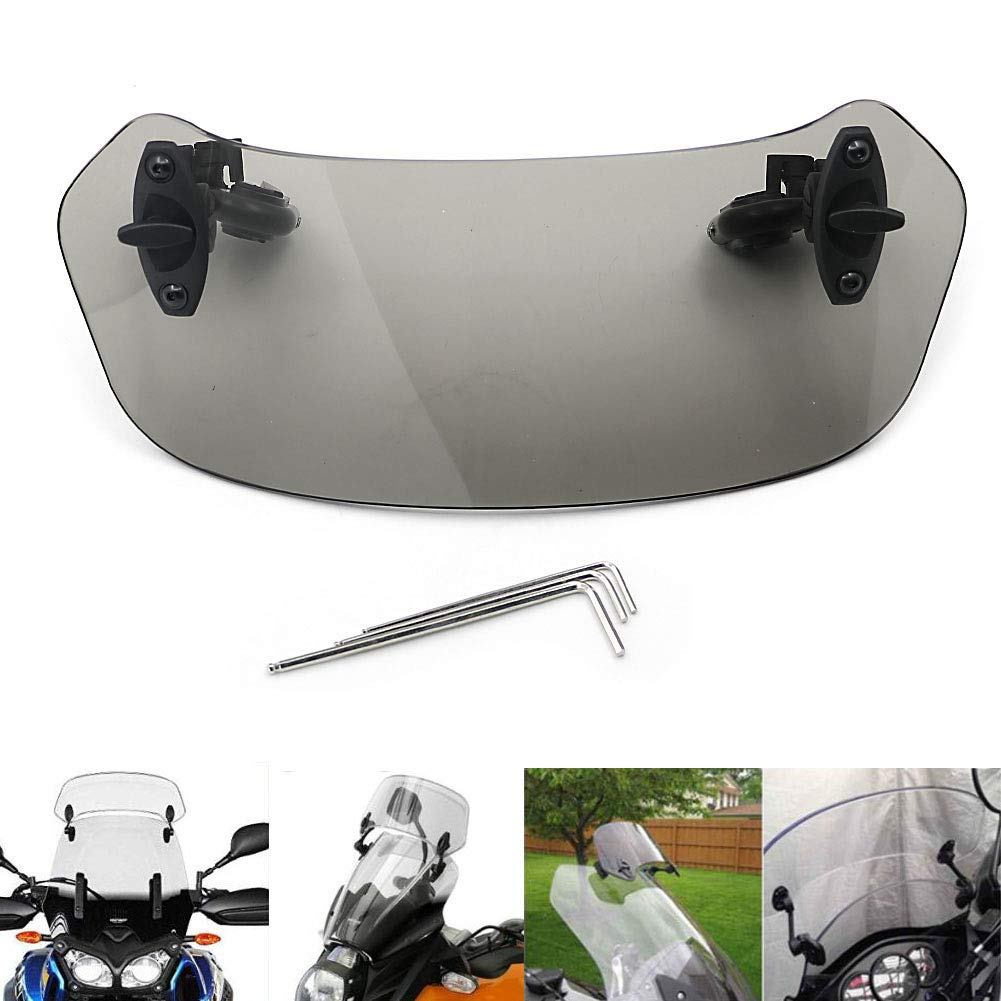 Motoparty Adjustable Clip On Windshield Extension Spoiler Windscreen Air Deflector For Honda CBF 1000 600 GTX1300 700 VFR800 CB500X 1000 1100 CBR 250R 300R 500R 600RR 1000RR CRF CTX GL VT ST NC700 S//X