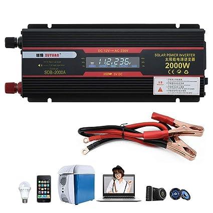 DC 12V to AC 230V 2000W Solar Car LCD Power Inverter 95/% Conversion Efficiency