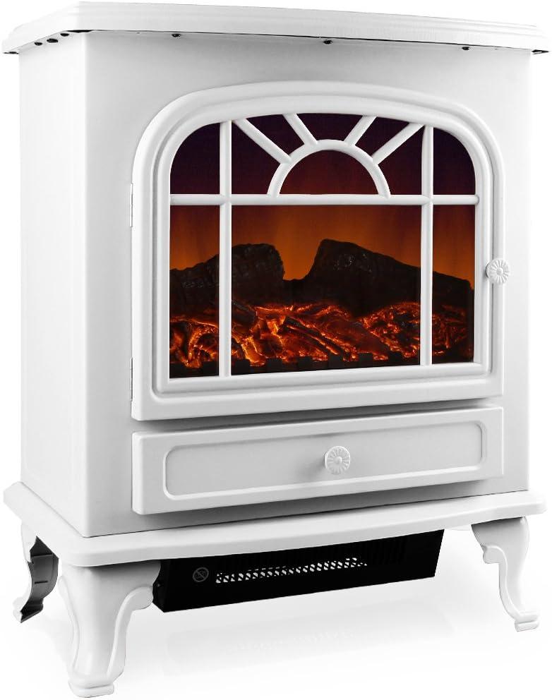 Deuba Chimenea eléctrica Blanca 2 niveles de calor 1000W o 2000W interior realista termoventilador 50,4x28,3x60 cm deco