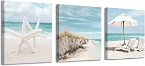 "Coastal Canvas Wall Art Print: Starfish & Beach Chairs on Sand Artwork for Wall Painting for Bedroom (12""x12""x3panel)"