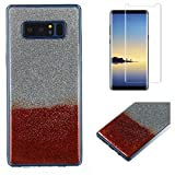 For Samsung Galaxy Note 8 Glitter Case with Screen Protector,OYIME Luxury Shiny Design Ultra Thin Slim Fit Soft Silicone Rubber Bumper Scratch Resistant Protective Back Cover - Red