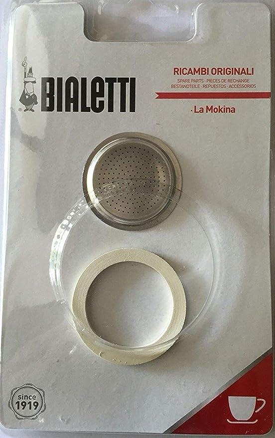 Bialetti – Junta y filtro. Repuesto para cafetera Mokina 1/2 tazas ...