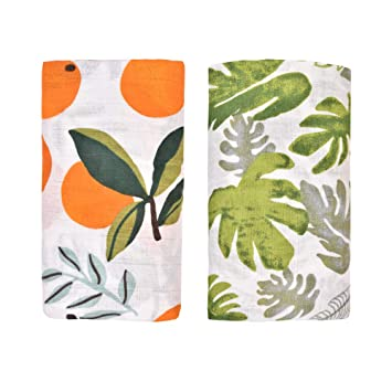 Tropical Palm Leaves 47x47inch Breathable Organic Cotton Gauze Baby Towel Receiving Blanket Perfect for Unisex Babies Shower Gift BELUPAI Muslin Swaddle Blankets