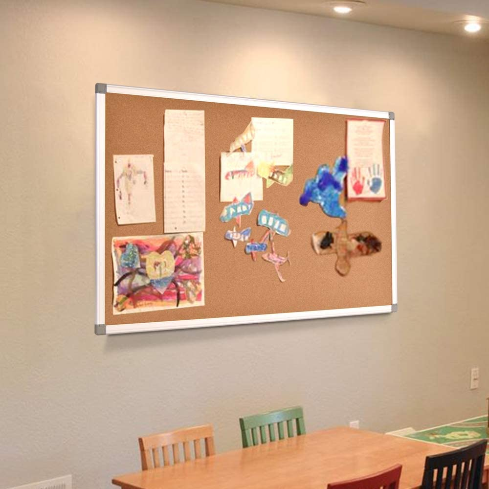 Bulletin Board Wall Mounted Pin Board for Office 36 x 24 Inches Corkboard with Black Wood Frame Home
