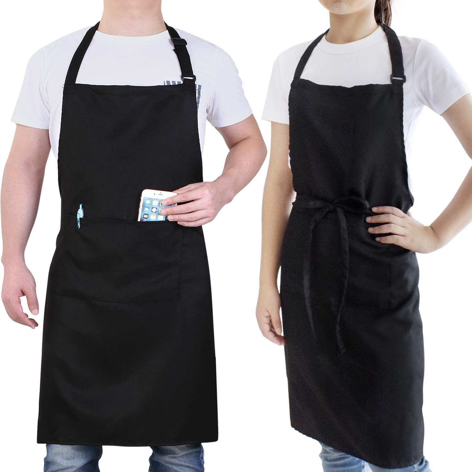 Will Well 2 Pack Adjustable Waterproof Bib Apron, Comfortable Cooking Kitchen Aprons with 2 Pockets for Women Men Chef, Black by Will Well