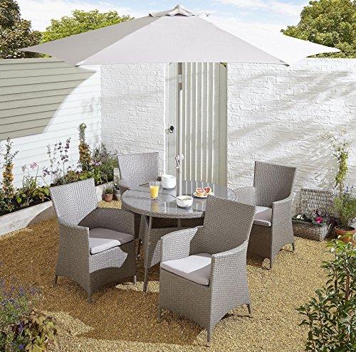 NEW Tesco San Marino 6 Piece Rattan Round 4 Seat Garden Dining Table Set - Grey