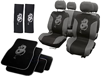 XtremeAutoR Dragon Car Styling Set Seat Covers Floor Mats Belt Pads