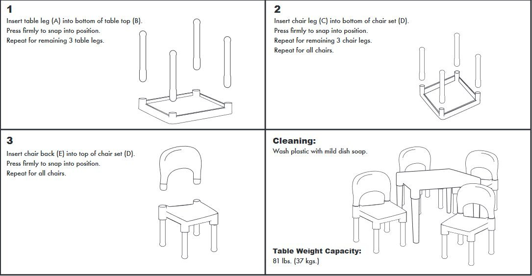Tot Tutors Kids Plastic Table and 4 Chairs Set Vibrant Colors TC911