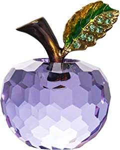 LONGWIN 40mm (1.6 inch) Crystal Apple Figurine Paperweight Christmas Decoration Ornaments Purple