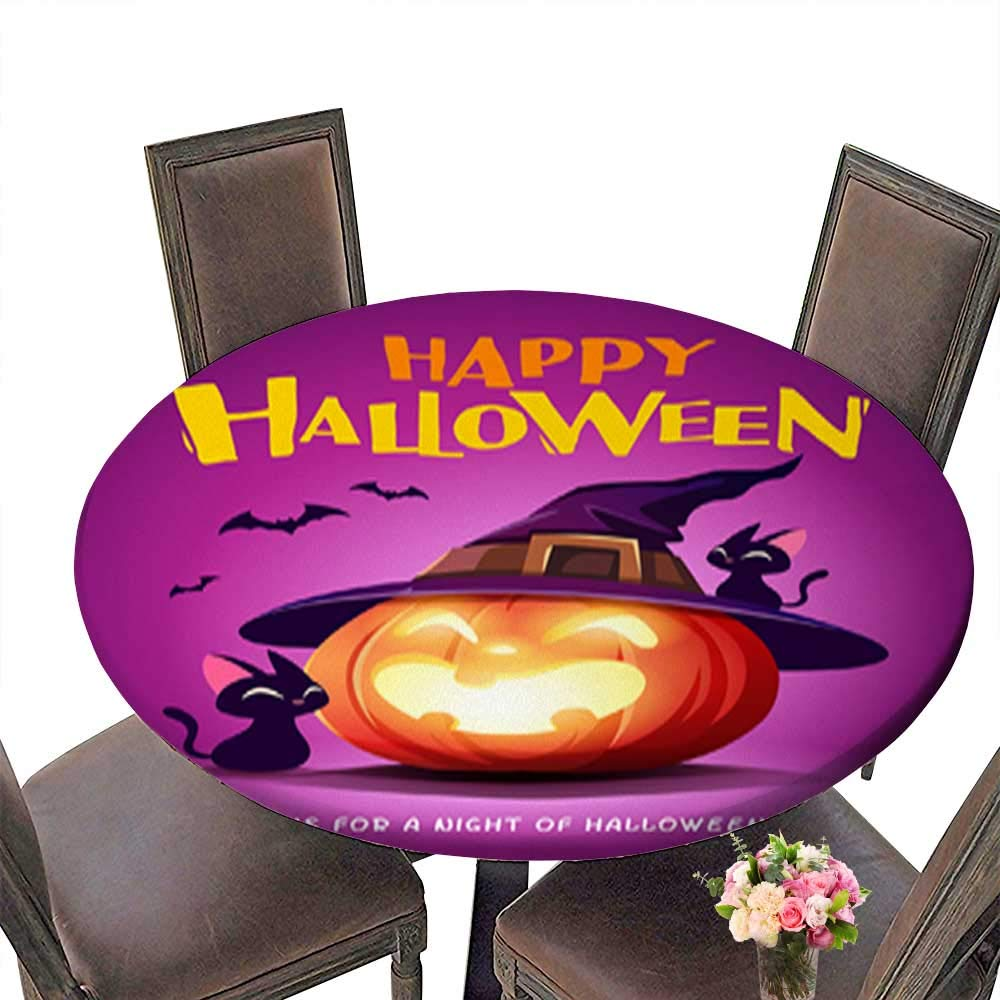 Foot&Mark-Tablecloth 100% Polyester Happy Halloween Halloween Pumpkin Black Cat and Jack O Lantern Pumpkin with wi Eco-Friendly and Safe up to 31.5''-33.5'' Diameter