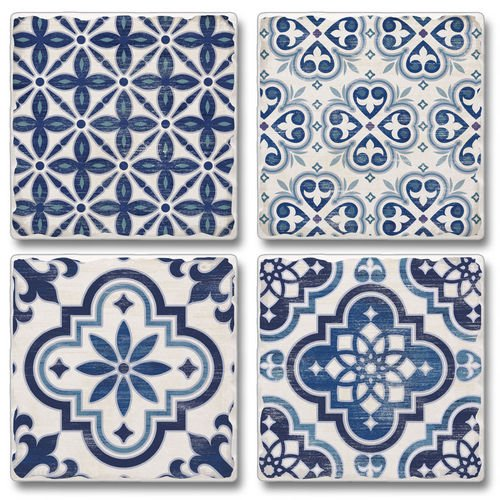 (Assorted Tumbled Tile Coaster Set - 4 Pack - Blue & White)