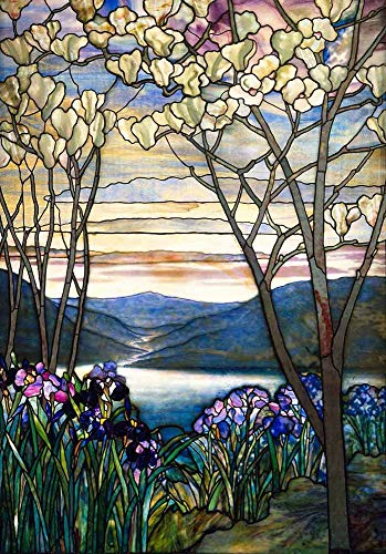 JH Lacrocon Louis Comfort Tiffany - Magnolias and Irises Canvas Wall Art 80X120 cm(ca. 32X48 inch) - Pattern Paintings Reproduction Vintage Print ()